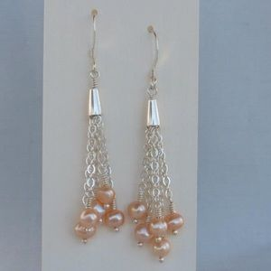Handmade sterling pink pearl earrings